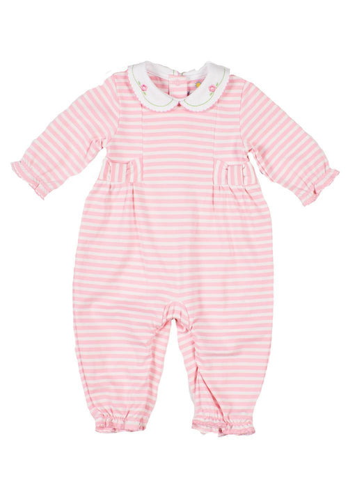 Light Pink Striped Onesie with Embroidered Flowers