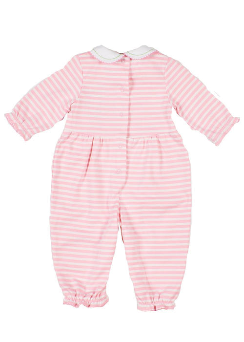 Light Pink Striped Onesie with Embroidered Flowers Back
