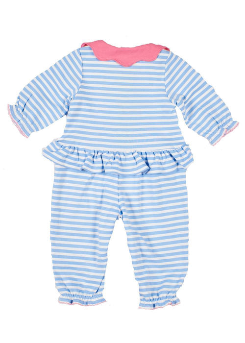 Light Blue Striped Baby Onesie with Petal Collar Back