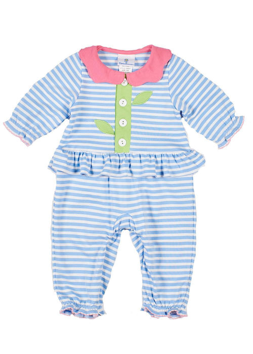 Light Blue Striped Baby Onesie with Petal Collar