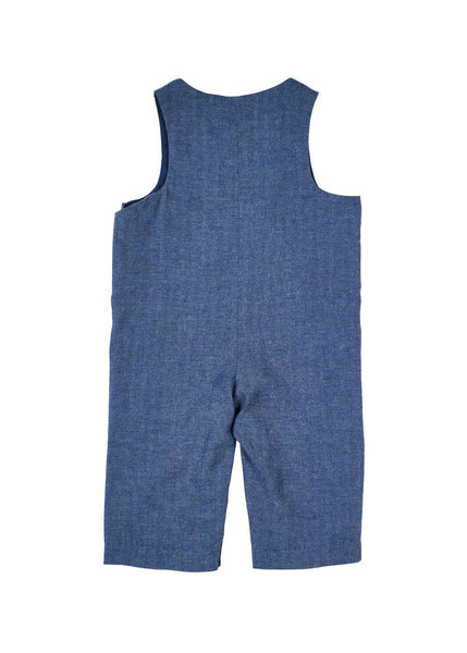 Navy Herringbone Baby Longalls with Fire Engine Back