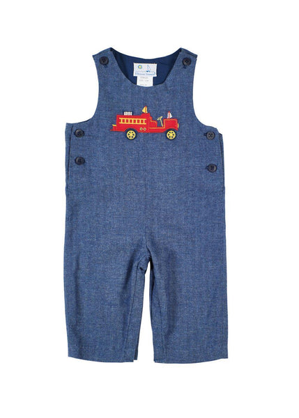 Navy Herringbone Baby Longalls with Fire Engine