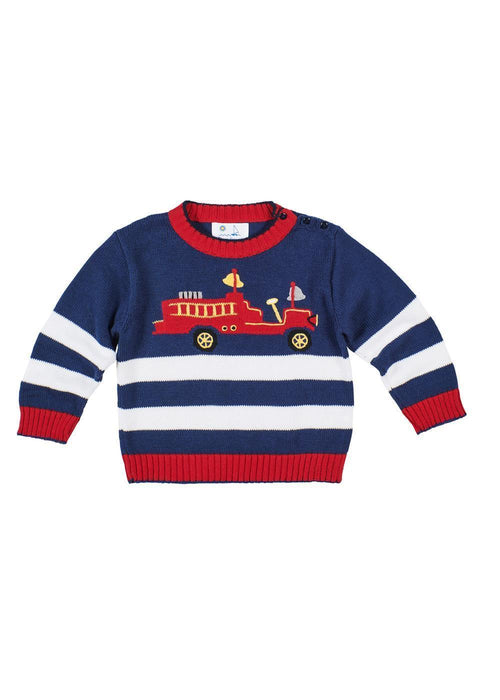 Navy Boys Striped Sweater with Fire Engine Front