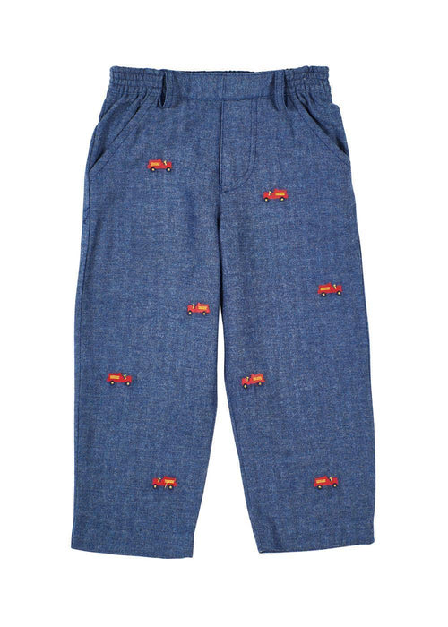 Boys Herringbone Pants with Fire Engines