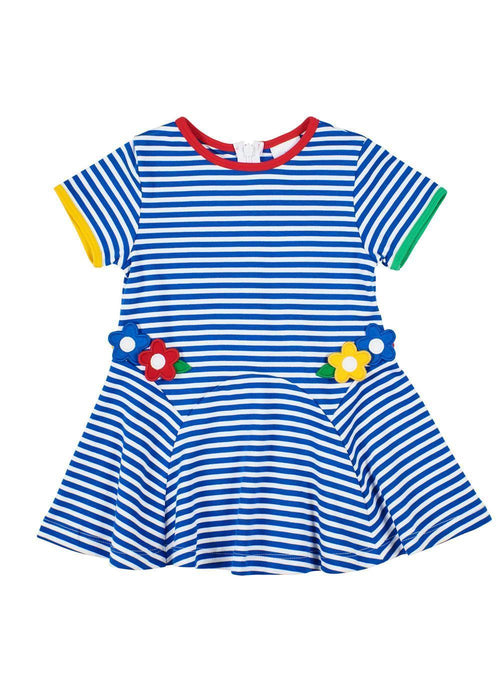 Girls Blue and White Striped Dress with Flowers Front