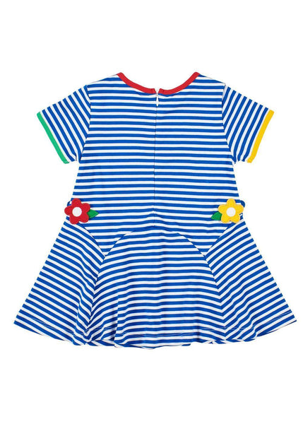 Girls Blue and White Striped Dress with Flowers Back