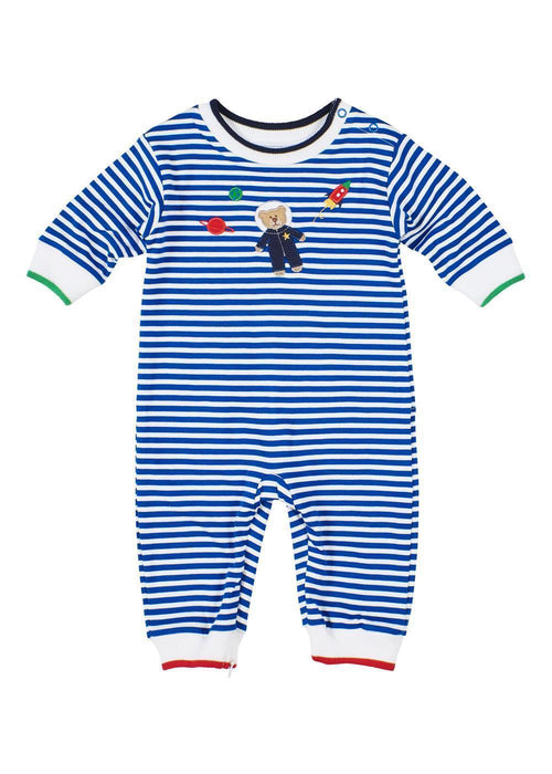 Royal Blue Baby Boy Striped Onesie With Astronaut Front