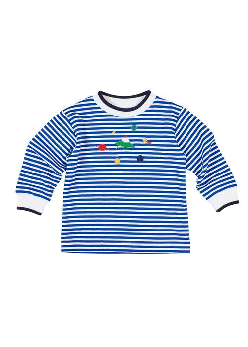 Royal Blue Striped Boys Space Shirt Front
