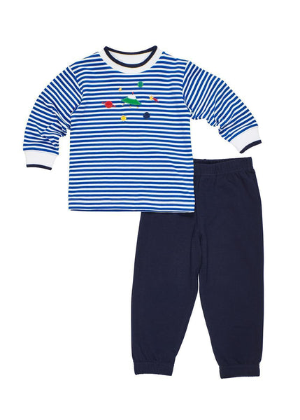 Royal Blue Striped Boys Space Shirt with Pants