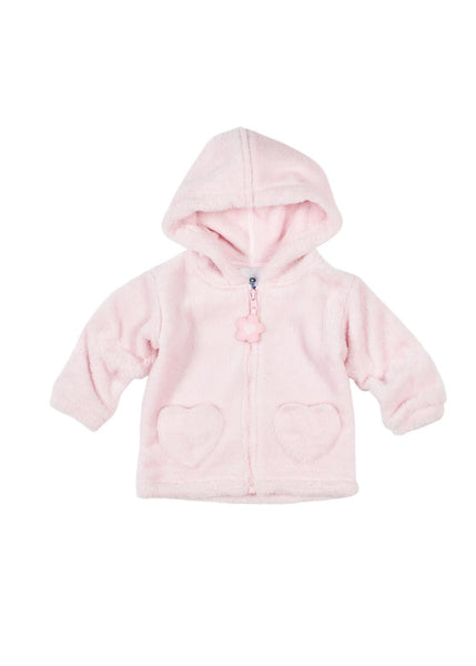 Plush Hoodie With Flower Zip Pull