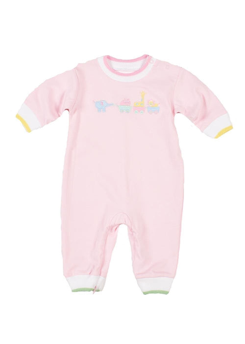 Pink Baby Onesie with Animal Wagon Appliqué