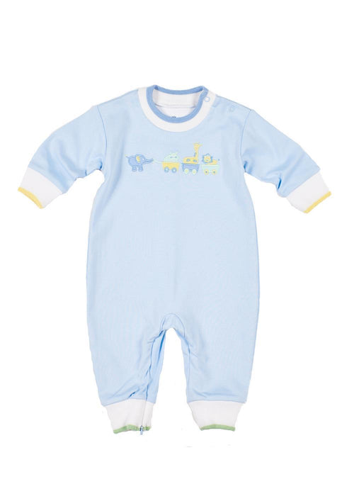 Light Blue Long Sleeve Onesie with Wagon Train