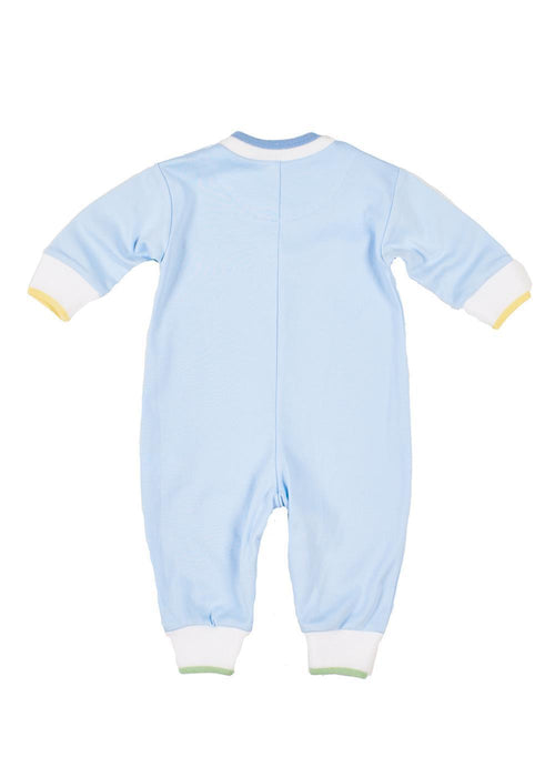 Light Blue Long Sleeve Onesie with Wagon Train Back