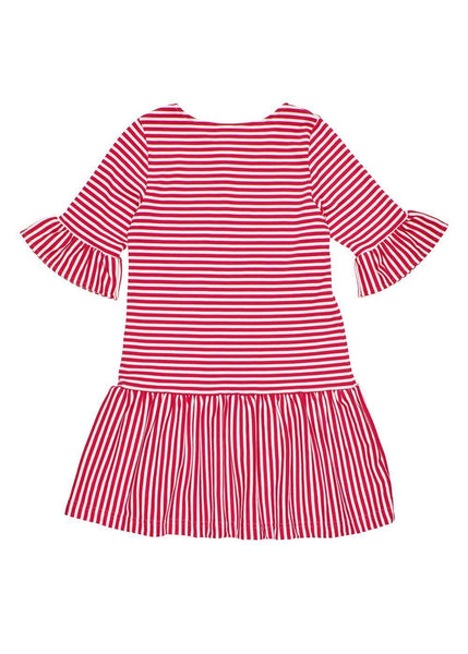 Red and White Striped Dress with Trumpet Sleeves