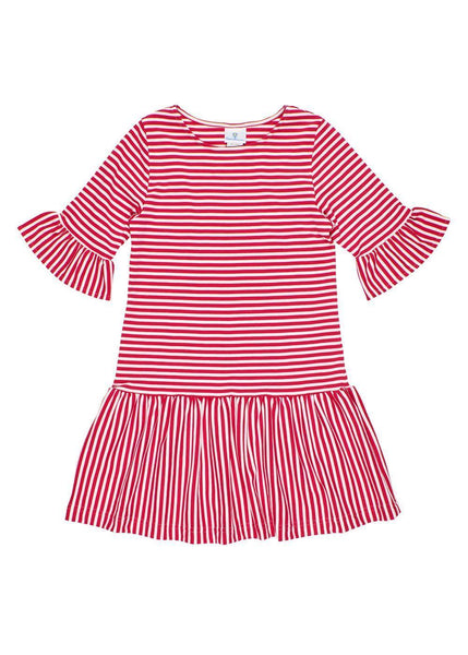Deep Pink Striped Casual Striped Dress for Tween Girls
