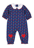 Navy Blue Baby Girl Onesie with Hearts & Flowers - Front