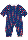 Navy Blue Baby Girl Onesie with Hearts & Flowers - Back