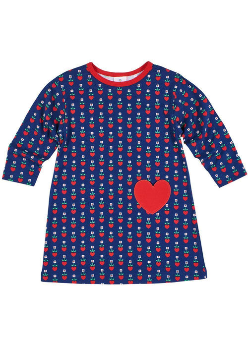 Girls Long Sleeve Navy Dress with Heart Pocket - Front
