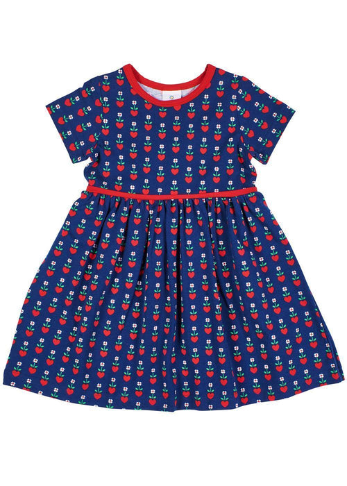 Hearts & Flowers Girls Navy Dress Short Sleeve - Front