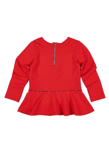 Red French Terry Peplum Top