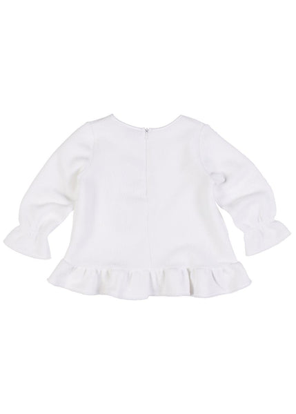 Girls White Long Sleeve Top with Bows Back