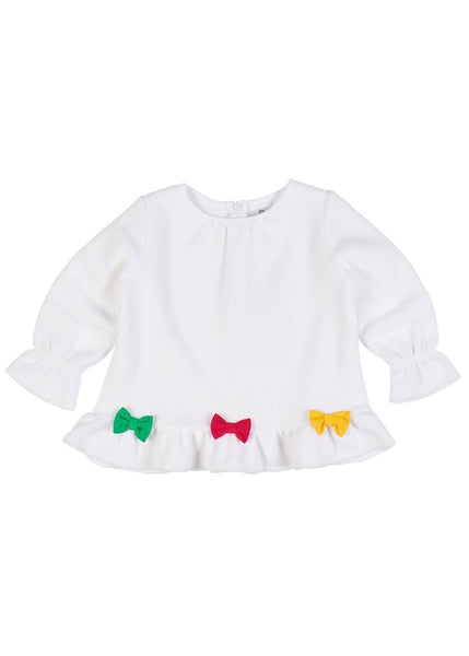 Girls White Long Sleeve Top with Bows