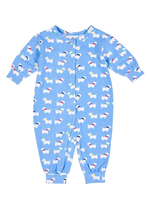 Periwinkle Baby Onesie with Dogs