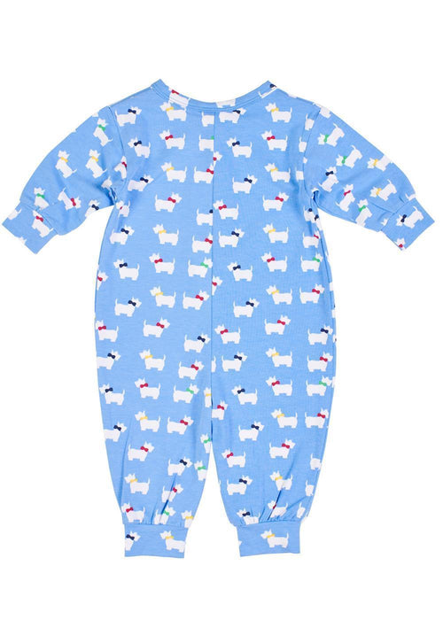Periwinkle Baby Onesie with Dogs Back