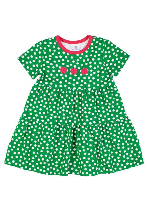 Green Polka Dot Dress with Small Apple Appliqués - Front