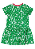 Green Short Sleeve Polka Dot Dress with Apple - Back