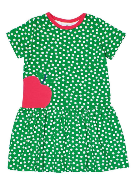 Green Short Sleeve Polka Dot Dress with Apple - Front