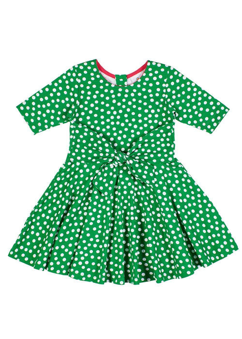 Girls Green Dress in Polka Dot Print with Tie Sash - Front