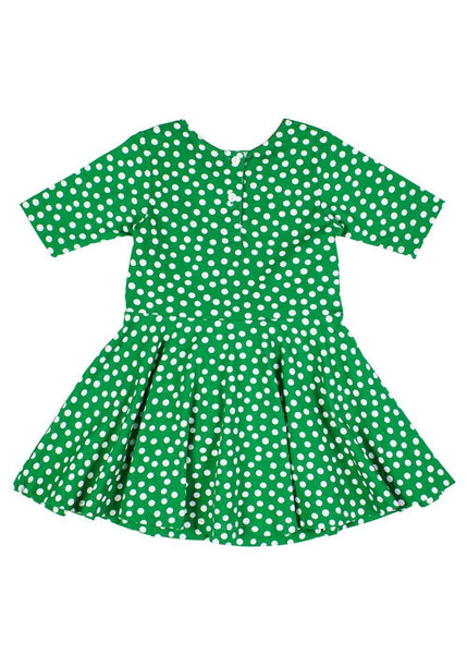 Girls Green Dress in Polka Dot Print with Tie Sash - Back