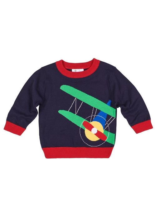 Navy Toddler Boy Sweater with Airplane