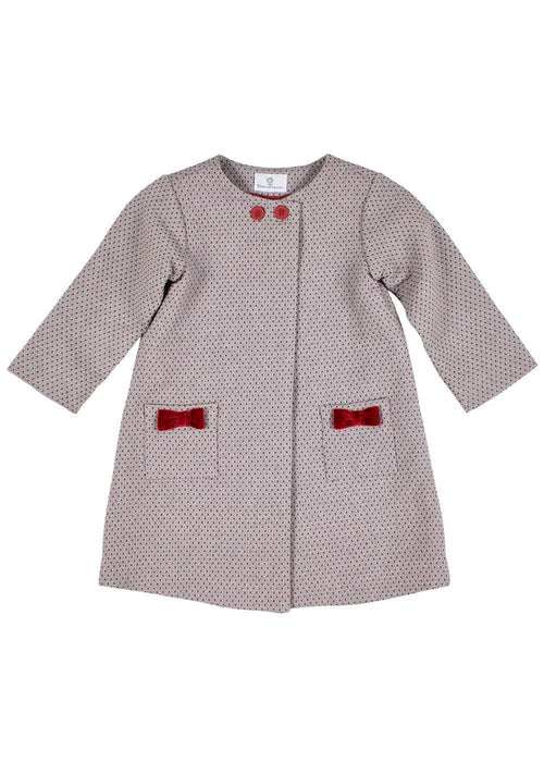 Jacquard Coat With Pockets And Bows