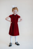 Stretch Velvet Shift Dress With Short Sleeves