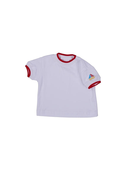 Red Tipped T Shirt With Sailboat