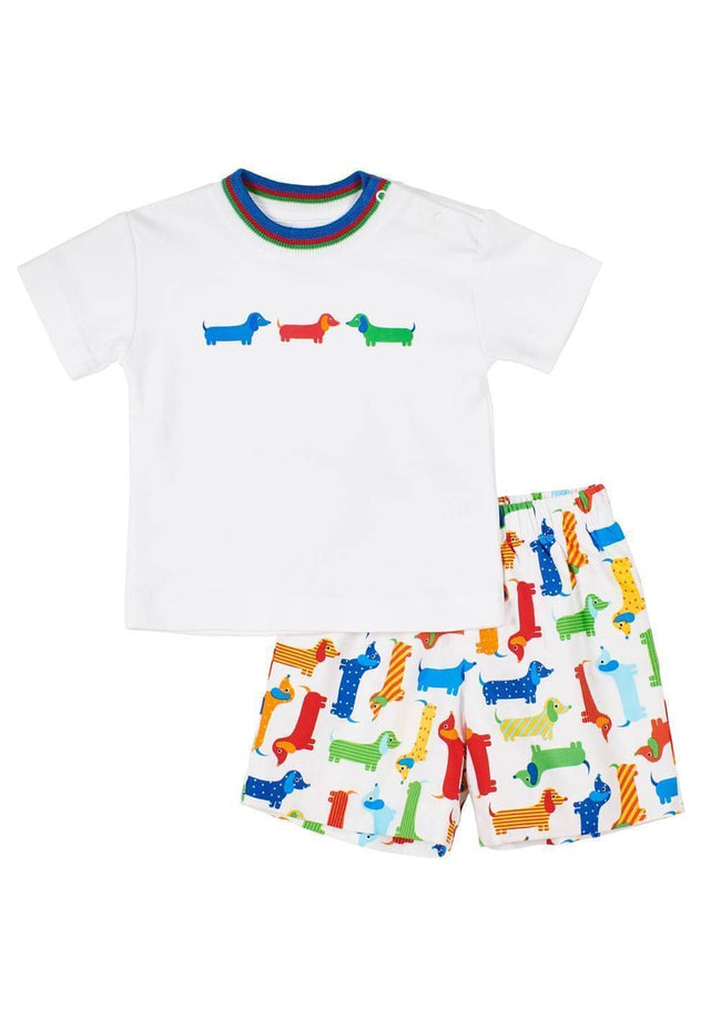 Wiener Dog Print Pull-On Short - Florence Eiseman