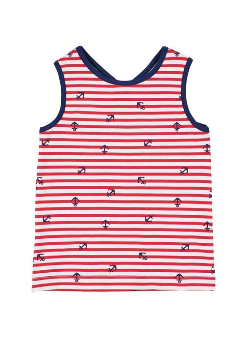 Anchor Print Cross Back Tank Top - Florence Eiseman