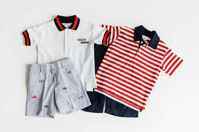 Red and White Stripe Polo Shirt with Fish Embroidery - Florence Eiseman