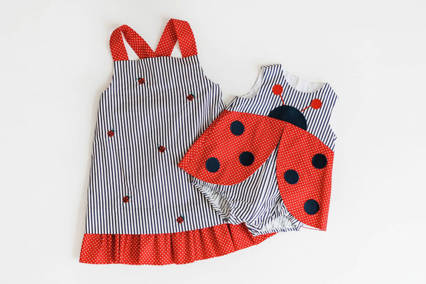 Red and Navy Ladybug Romper