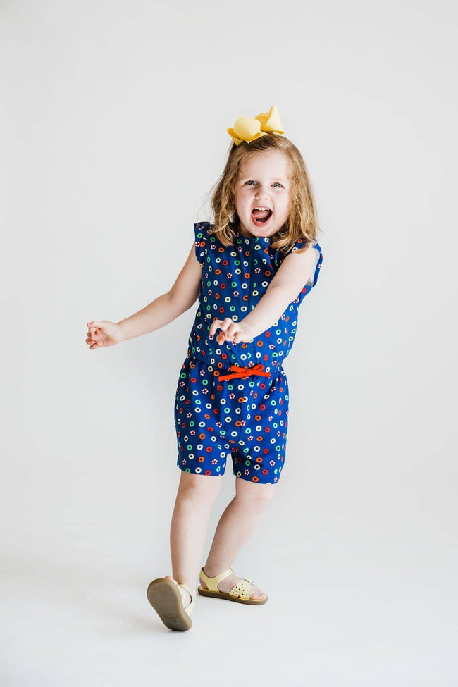 Lifesaver Print Knit Girls Romper
