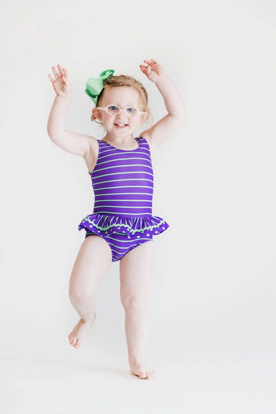Purple/Lime Stripe and Dot Tank Suit with Ric Rac - Florence Eiseman