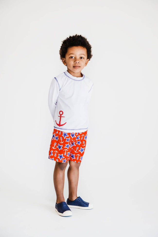Nautical Print Quick Dry Swim Trunks