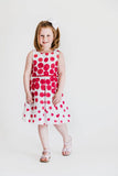 White and Fuchsia Circle Border Print Dress