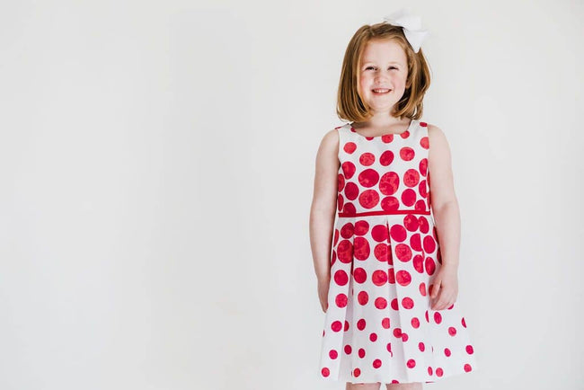 White/Red Circle Border Print Dress