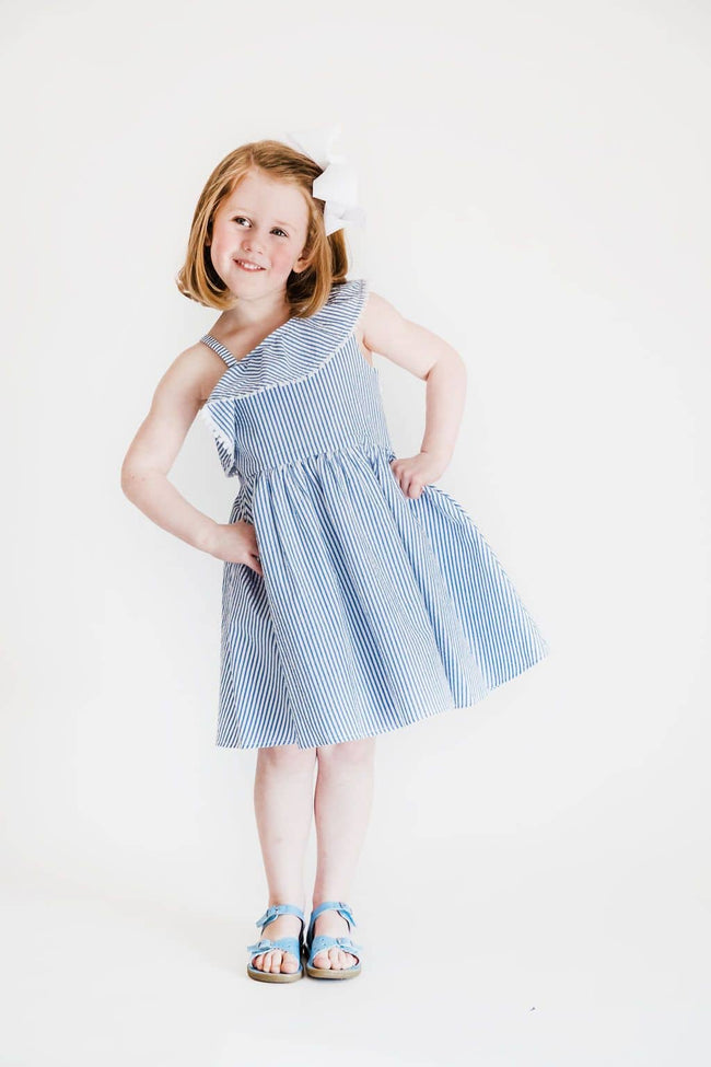Blue Seersucker Dress with Asymmetrical Ruffle