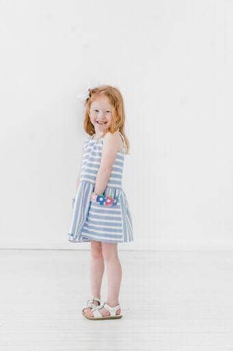 Blue Stripe Pique Knit Dress With Flowers