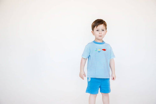 Blue Stripe Shirt and Blue Pull On Shorts - Florence Eiseman