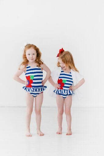 Blue Stripe Swimsuit with Large Appliqued Flower